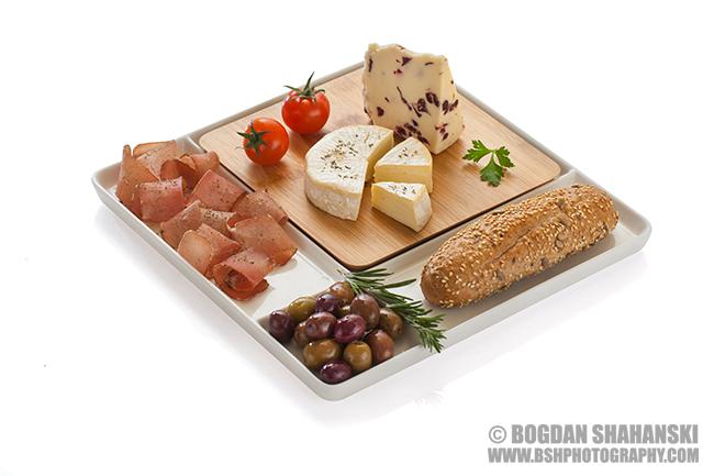 Продуктова фотография с аранжировка на хранителни продукти за кутия . Клиент: Dims-92